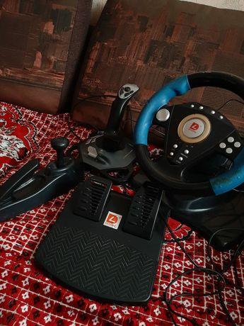 Продам игровой руль с педалями, переключателем скорости и джойстиком