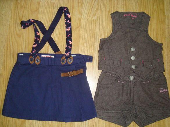Къси панталонки с елече,поличка и блузка