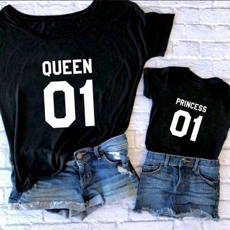 Set tricouri personalizate pentru mama si fiica, Queen-Princess