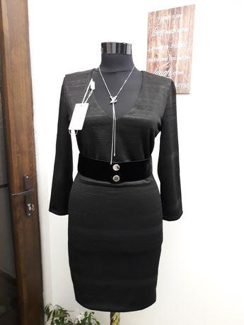 Rochie originală Patrizia Pepe S, fir negru lucios,  cu etichetă