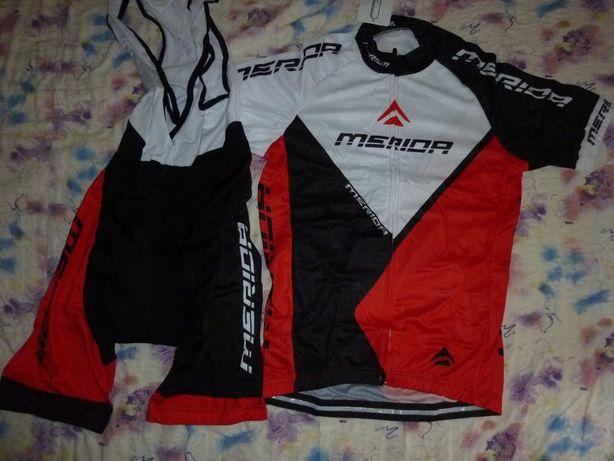 Echipament ciclism Merida multivan rosu set pantaloni tricou