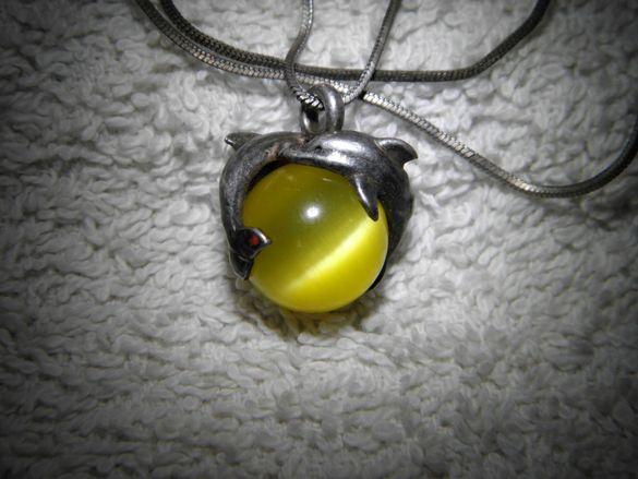 сребро Висулка с рядък вид камък,жълто котешко око,много интересна