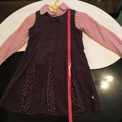 Джинсова рокля плисе с памучна риза