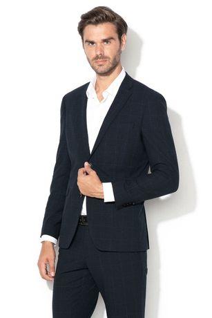 SET BARBATI ASOS SACOU + Pantaloni Dark blue carouri - NOU - ORIGINAL