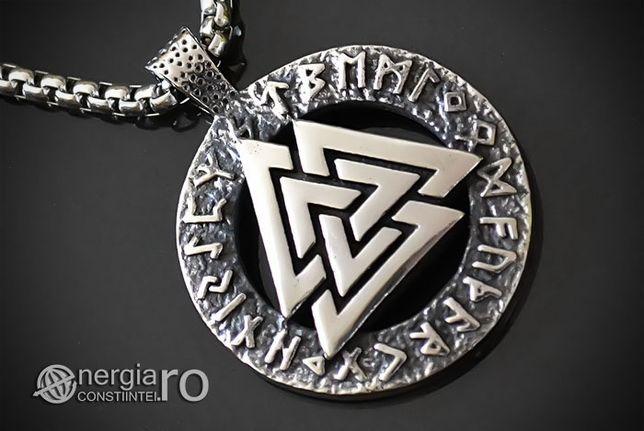 Amuletă Talisman Pandantiv Valknut Odin cu Rune INOX - cod PND110
