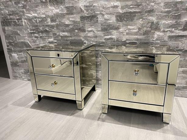 Set noptiere oglinda culoare champagne gold Kare design