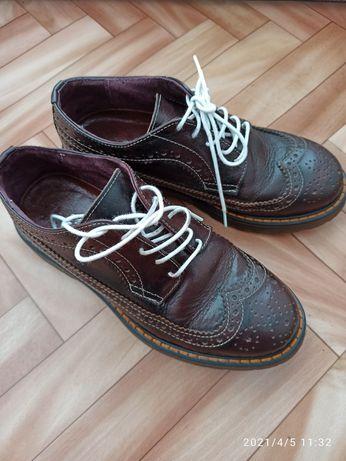 Дамски кожени оксфордки обувки