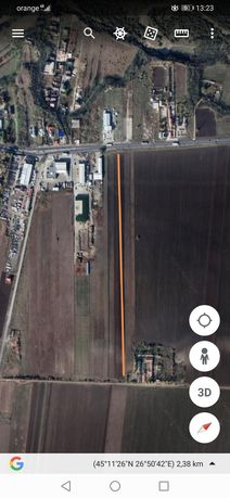 Vand teren ,2500 m², deschidere 4 m la E85,150 m de autorola,