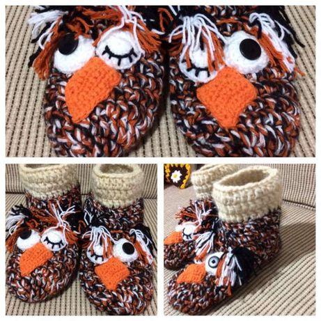 Papuci bufnita/mos craciun handmade
