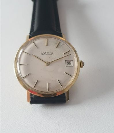 ceas bărbătesc aur masiv 14k roamer elvetian