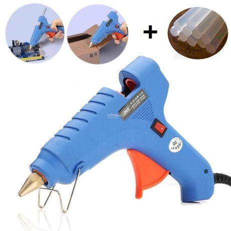 Пистолет за топъл силикон на ток с ПОДАРЪК 5 пълнитела/ уред за лепене