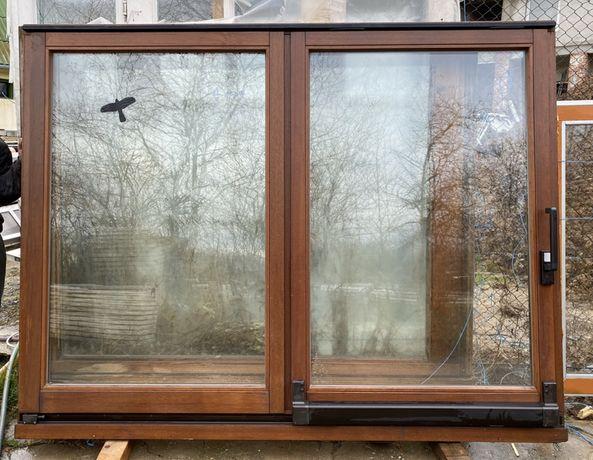 Usa culisanta terasa balcon lemn geam termopan H 179 x L 232