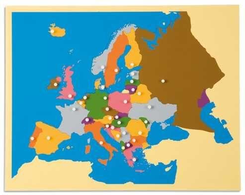 Монтесори пъзел дървена карта на Европа-държави и граници ДЪРВЕНИ ИГРИ