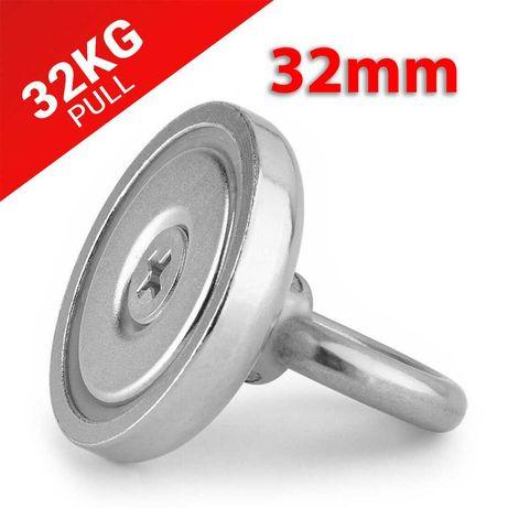 32mm 35кг Магнит за магнитен риболов, с кука (халка) Magnet fishing