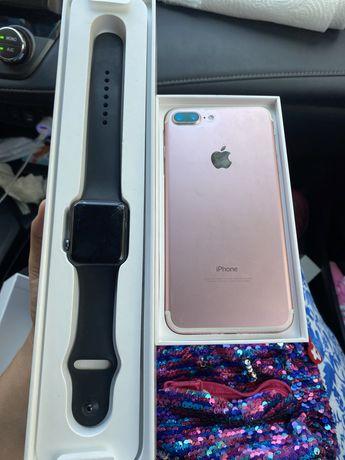 Iphone 7 plus rose gold+ apple watch !!!