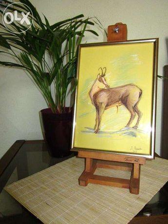 Tablou Capra neagra - grafica pastel - 31/22 cm inramat