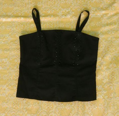 Къс черен потник/crop top