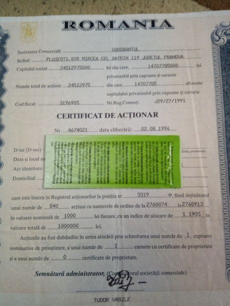 Certificat actionar