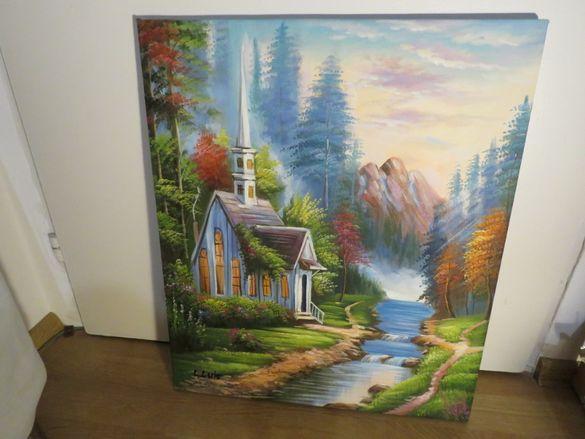 Маслена картина Къщичка в планината - успокояващата магия на зеленинат