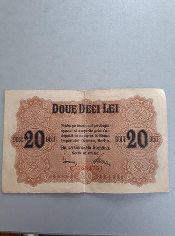 Bancnote DOUE DECI LEI (20 lei) 1917 Banca Generala Romana