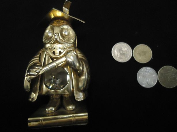 Статуэтка Сова небольшая позолота настоящая ! и Сваровски хрусталь