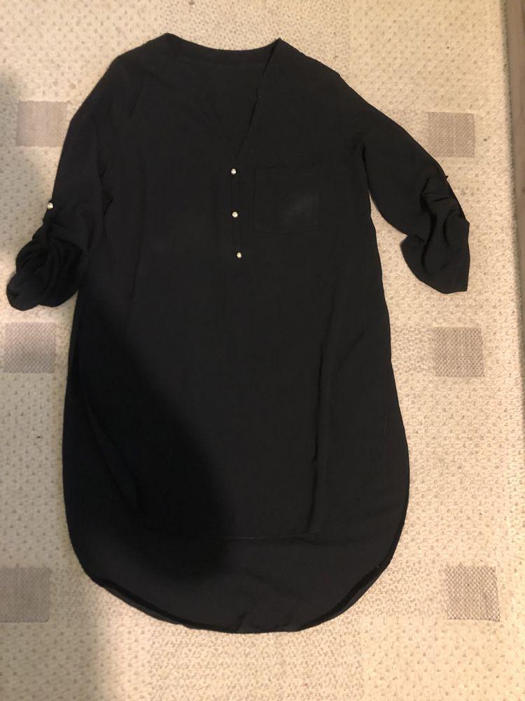 Черна дълга риза шифон