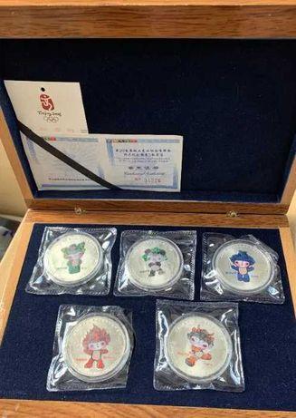Набор серебряных монет 5 шт. посвящённых Олимпиаде в Пекине 2008 года