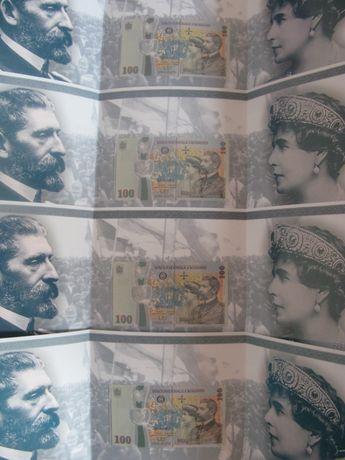 4 bancnote 100 lei Centenar serii consecutive