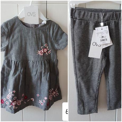 Lot set hainute/rochie/pantaloni OVS, 86, 12-18 luni NOU