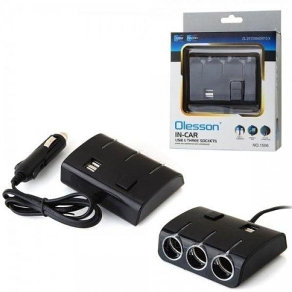 Разклонител за кола Olesson, Модел 1506, 3 гнезда за запалка, 2 х USB гр. Шумен - image 1