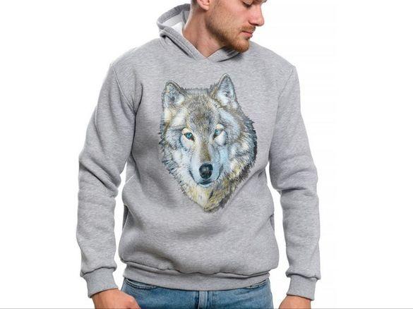 Нов мъжки суичър с щампа вълк със сини очи, серия вълци