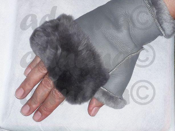 Manusi fara degete - confectionate din piele naturala imblanita