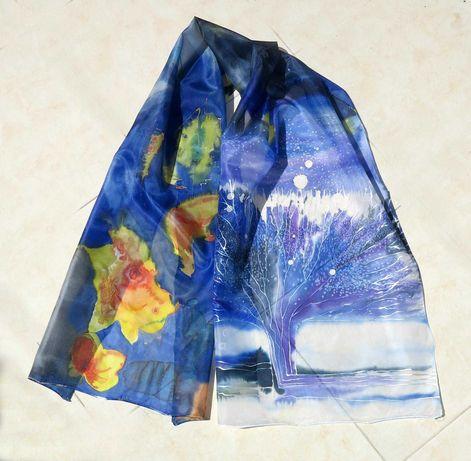 Дамски шал художествена серия, рисуван върху коприна. пролет и празник