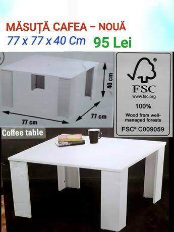 Măsută CAFEA 77x77x40 Cm PAL ALB 15 mm Dublu melaminat - NOUĂ - 90 Lei