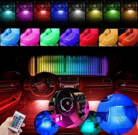 Kit set 4 benzi led auto RGB telecomanda lumina ambientala interior