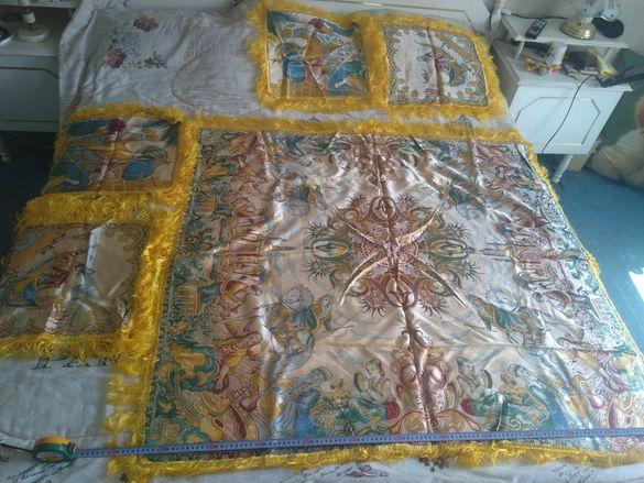 Уникална, двулицева Индийска покривка с 4 подложки от коприна