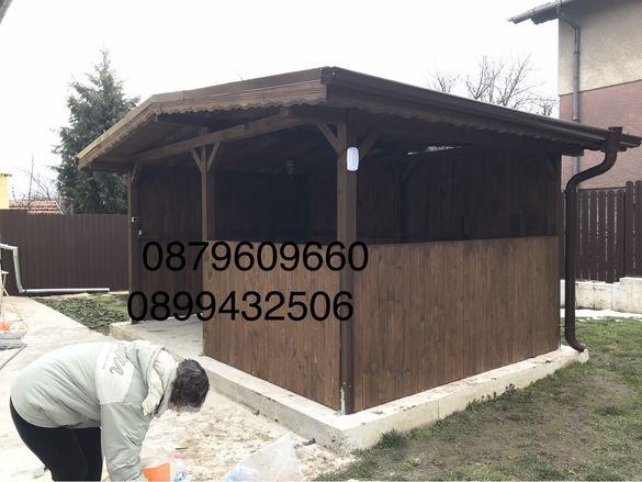 Дървени конструкции навеси терсаси и барбекюта.