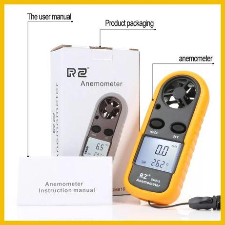 Анемометър Ветромер измерва скоростта на вятъра и температура солар