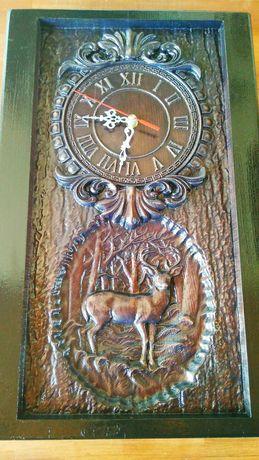 Ceas lemn sculptura lemn panoplie vanatoare
