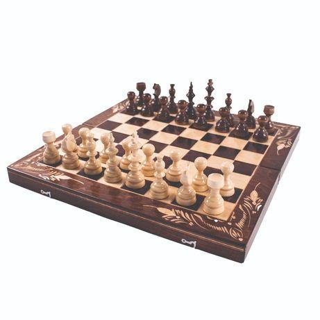Дървен шах с табла + дървени фигури и пулове, 4 размера, 2 цвята