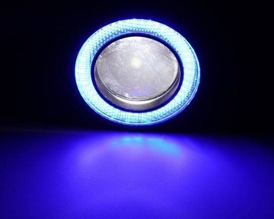 Set proiectoare LED cu lupa si Angel Eyes 64/76/89 mm Orice auto moto