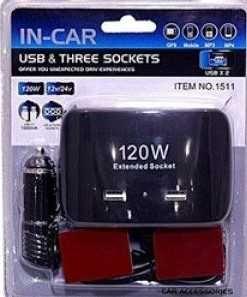 Мощен разклонител за кола USB вход-In Car с 3 гнезда за запалка