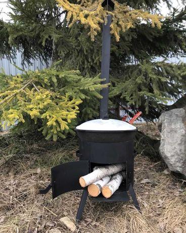 Чугунный казан 12л и печь с трубой 3мм со скидкой