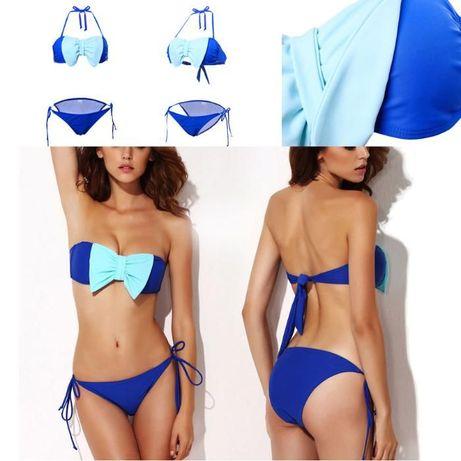 Costum de baie albastru cu funda