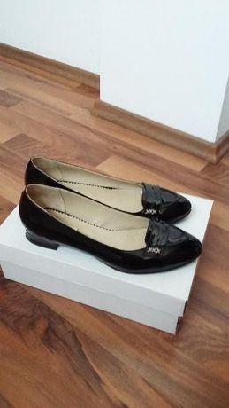 Pantofi balerini piele naturala lac negri 38