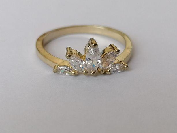 GR6, inel placat aur 14k, model deosebit, zirconiu alb fațetat