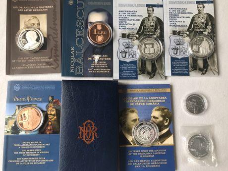 6 Monede proof argint +2 tambac proof tiraj limitat BNR +caseta. Bnr