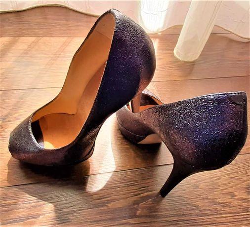 pantofi albastri din piele naturala, decupati in fata, toc 13cm, club
