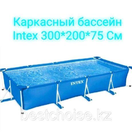 Каркасный бассейн прямоугольный Intex 300 см 200 см 75 см