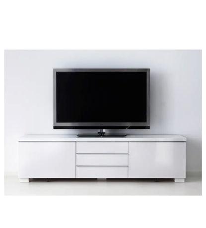 IKEA/ИКЕА, Тумба под ТВ Besta Burs (Бесто бурс), глянцевый белый